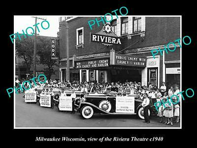 OLD LARGE HISTORIC PHOTO OF MILWAUKEE WISCONSIN, THE RIVIERA THEATER c1940