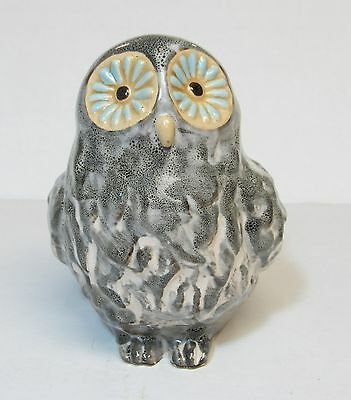 """GRAY OWL FIGURINE with Blue & Yellow Eye DECORATIVE ACCENT Decor 4.5"""" Tall CUTE"""
