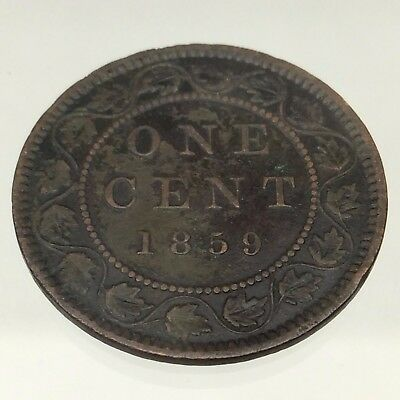 1859 Canada Narrow Nine N9 One 1 Cent Penny Copper Circulated Canadian Coin B428