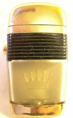 Vintage Scripto Vu Lighter Crown Thin Black Band Gold Sparking Well