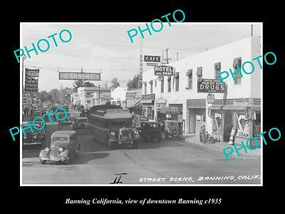 OLD LARGE HISTORIC PHOTO BANNING CALIFORNIA, VIEW OF DOWNTOWN BANNING c1935
