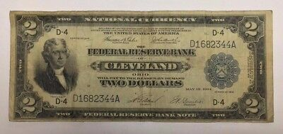 1918 $2 Two Dollar Federal Reserve Bank Note Large Size