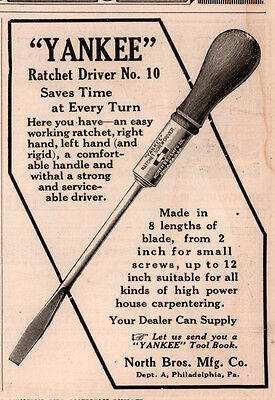 1910 Ad Yankee Breast Drill North Bros Mfg Auto Double Ratchet Driver No 10