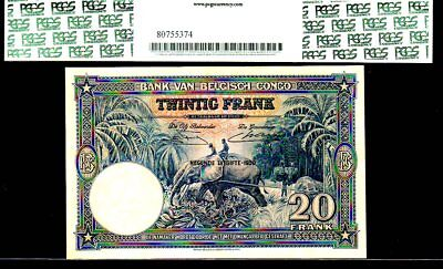 "Belgian Congo P15H ""jungle River- Elephant"" 1950 20 Francs Pcgs 40! Gorgeous!"