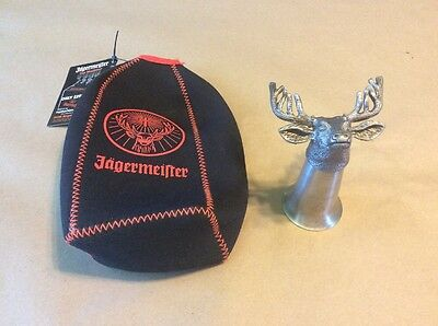 Jagermeister Bottle Koozie And Buck Head Shot Glass Stainless Pewter