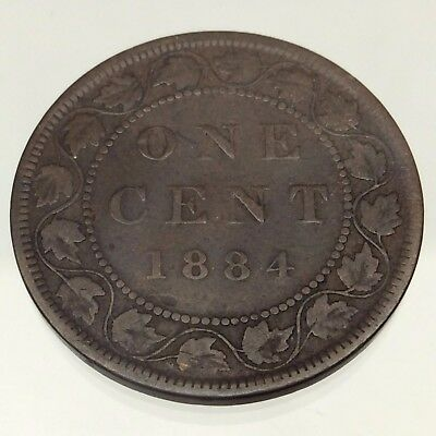 1884 Canada One 1 Cent Penny Copper Large Copper Circulated Canadian Coin B439