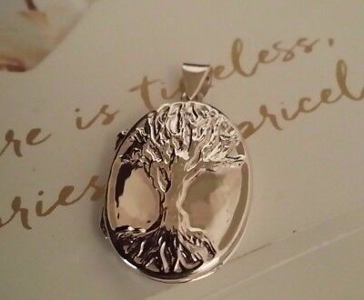 Real 925 Sterling Silver Large Tree Of Life Photo Locket Oval Charm Pendant Gift
