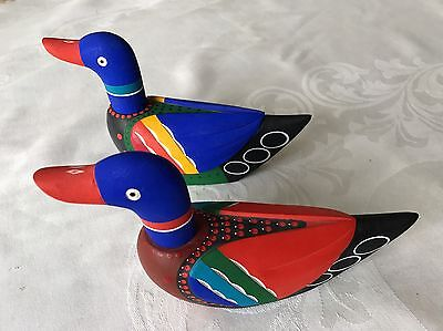 """Korean Wedding Duck Pair Medium Size Hand painted Wood Hand carved  7.5"""" signed"""