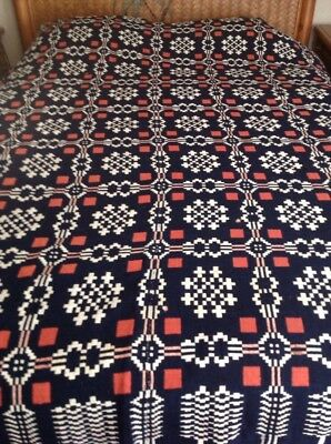 Antique Collectible Geometric Cross Crosses Red White Blue Coverlet