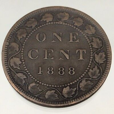 1888 Canada One 1 Cent Penny Large Copper Circulated Canadian Coin B444