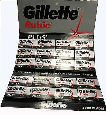 Gillette Rubie Platinum Plus Double Edge Razor Blades 100Pcs! FREE SHIPPING!