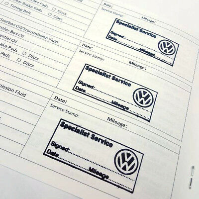STAMPED Service History Book VOLKSWAGEN stamp Replace Missing History VW Golf UP