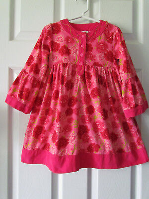 Le Top Pretty Pink Floral Corduroy Long Sleeve Toddler Girl Dress Size 3T Cute!!