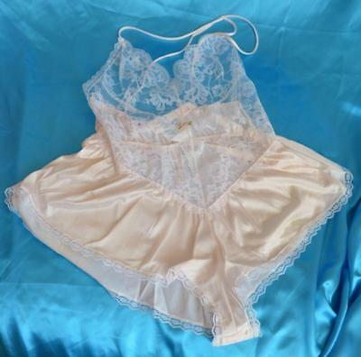 Vintage silky Nylon & Lace glossy 1960's french knickers teddy 10-12