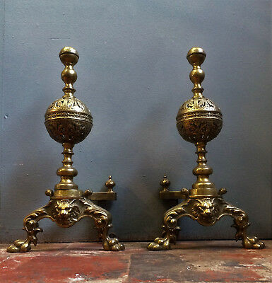 Large Victorian Brass Pair Andirons /firedogs, Lion Mask, Gothic, English.