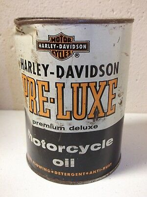 RARE OLD HARLEY DAVIDSON 1 Qt PRE-LUXE Premium Deluxe Metal OIL Can, FULL!!