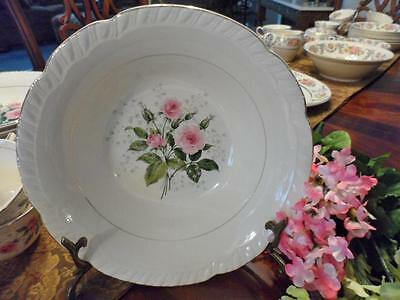 "ROUND VEGETABLE BOWL~American Limoges China ""CATHY R2 ~Pink Roses~22K Gold"