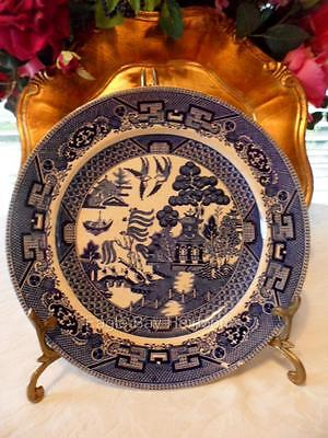 """Buffalo Pottery Blue Willow - LUNCH DINNER PLATE 9.25"""":  ~Semi-Vitreous c. 1911"""