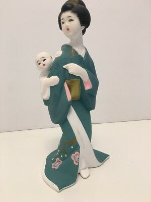 "Hakata Doll. Lady In Kimono With Baby. 9"" Tall. Handpainted. Japan"