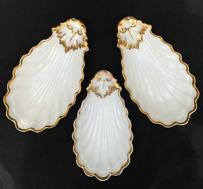 1850's Haviland Old Paris French Porcelain Clamshell Dishes Lot Of 3
