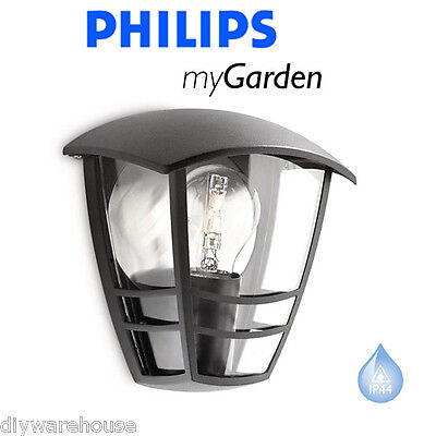 Philips My Garden Creek Led Half Lantern Black Outside Light Wall External Bnib