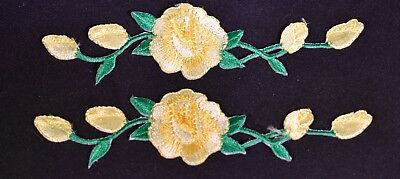 #3965P Lot 2 Pcs Pink Rose Flower Embroidery Iron On Applique Patch