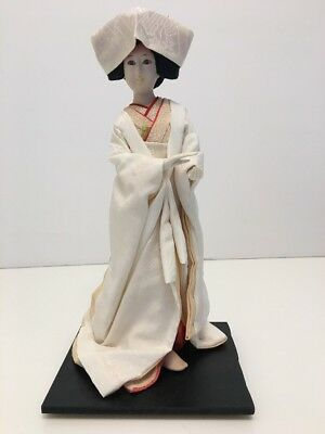 "Hakata Doll. Lady In Kimono On Stand. 10 1/2"" Handpainted. Japan"