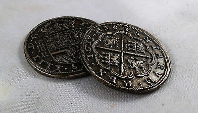 Stunning Pair of Large Spanish Silver Pieces of Eight  - Coins/Pirates/Treasure