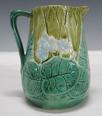 Antique Victorian Joseph Holdcroft Majolica Pottery Pond Lilies Milk Pitcher yqz