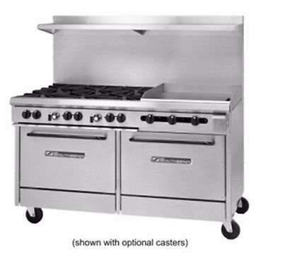 "S-Series Gas Range, 6 burners+Griddle, 2 std oven, 60"" wide, Southbend S60DD-2GR"