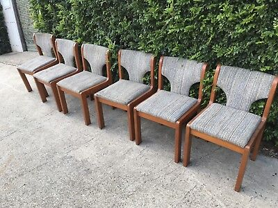Set Of Six Wood Frame Dining Chairs