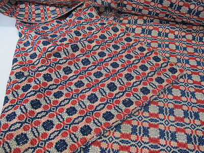 Antique Americana Mid 19th c Reversible Woven Overshot Coverlet Bed Cover NR yqz
