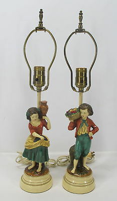 Vintage Pair of Borghese Cast Continental Boy & Girl with Fruit Statue Lamps yqz