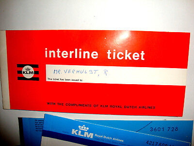 KLM AIRLINES INTERLINE TICKET PASSENGER TICKET AND BAGGAGE CHECK. ancien billet