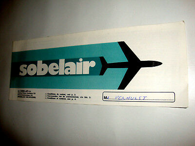 SOBELAIR CHARTER AIRLINES PASSENGER TICKET AND BAGGAGE CHECK. ancien billet
