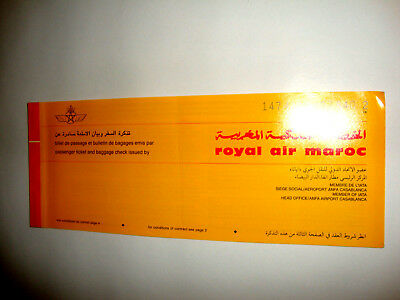 ROYAL AIR MAROC PASSENGER TICKET AND BAGGAGE CHECK.ancien billet CASA-PARIS