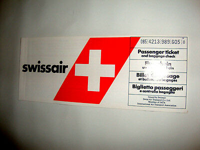 SWISSAIR AIRLINES PASSENGER TICKET AND BAGGAGE CHECK. ancien billet