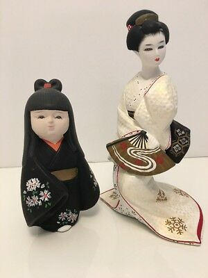 Two Female Japanese Dolls From Hakata Doll Assn