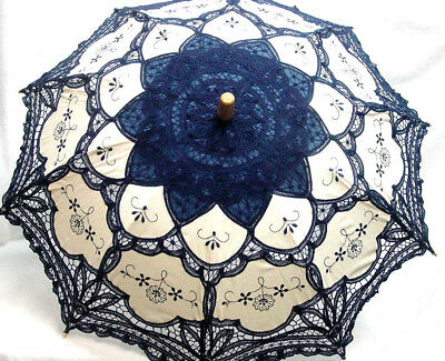 Cotton Lace Parasol Royal Blue ecru battenburg lace Victorian Edwardian style