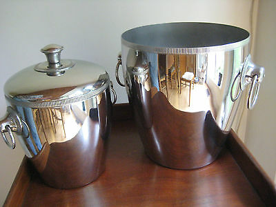 Retro  Ice Buckets  French Made Stainless Steel  2 Matched Letang Remy