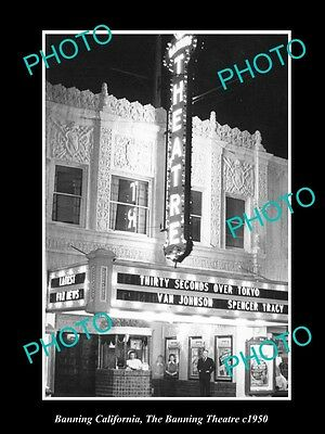 Old Large Historic Photo Of Banning California, View Of The Banning Theatre 1950