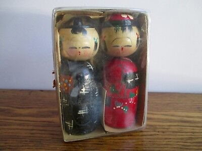 Vintage Pair of Wooden Japanese Kokeshi Dolls Nesting Creative Playthings 1967