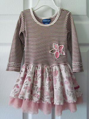 Naartjie Brown Pink Striped Floral  Toddler Girl Dress Size 6-12 Months Cute!!
