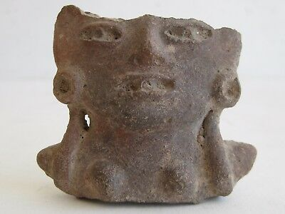 Antique Mesoamerican Clay Pottery Figural Head Fetish Fragment