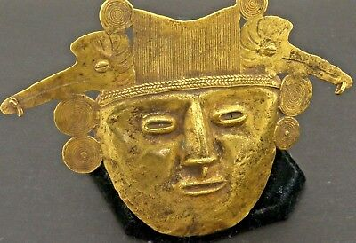 Pre-Colombian antique heavy 88% gold spiritual mask face pendant artifact