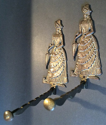Two Unique Vintage Solid Brass Victorian Lady Hinged Wall Clothes Hanger Hooks