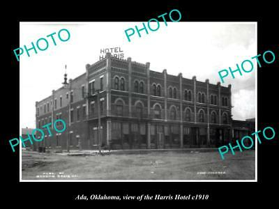 OLD LARGE HISTORIC PHOTO OF ADA OKLAHOMA, VIEW OF THE HARRIS HOTEL c1910