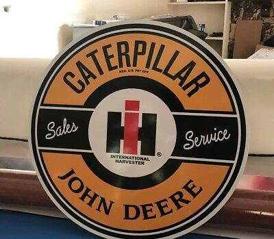 "JOHN DEERE IH CATERPILLAR SIGN Vintage Look Sales & Service VERY LARGE 24"" SWEET"