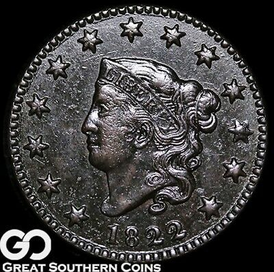 1822 Large Cent, Coronet Head, Great Strike, RARE Coin! ** Free Shipping!