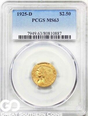 1925-D PCGS Quarter Eagle, $2.5 Gold Indian PCGS MS 63 ** Free Shipping!